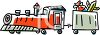 Toy choo choo train pulling toys and candy clipart