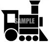 Toy choo choo train - black and white clipart