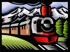 Steam Locomotive crossing the wilderness clipart