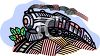 Steam locomotive on railroad tracks clipart