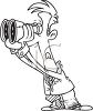 Black and White Cartoon of a Man Looking Through Binoculars clipart