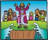 Cartoon of Moses Parting the Sea clipart