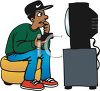 African American Teen Watching TV clipart