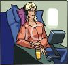 Woman Watching an In flight Movie on a Plane clipart