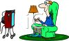 Middle Age Man Enjoying a Television Program clipart