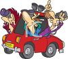 Cartoon of a Car Load of Bird Watchers with Binoculars clipart