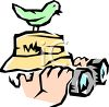 Bird Watcher with Binoculars and a Bird Perched on His Head clipart