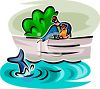 Boy and His Dad Watching a Dolphin From a Bridge clipart