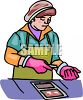 Woman Shucking Oysters clipart