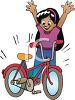 Happy Little Girl with a New Bike clipart