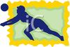 Volleyball Icon Showing a Player Lunging to Hit the Ball clipart