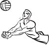 Black and White Cartoon of a Volleyball Player Doing a Bump Pass clipart