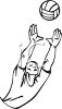 Black and White Cartoon of a Volleyball Player Reaching for the Ball clipart