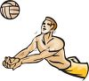 Male Beach Volleyball Player Bump Passing the Ball clipart