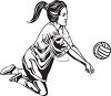 Female Volleyball Player Using a Forearm Pass clipart