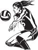 Girl Playing Volleyball Using a Bump Pass clipart