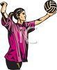 Girl Serving a Volleyball clipart
