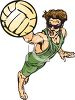Intense Beach Volleyball Player  clipart