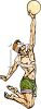 Guy Playing Beach Volleyball Reaching Up for the Ball clipart