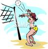 Cartoon of a Girl Playing Volleyball at the Beach clipart