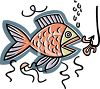 Fish in the sea about to bite on the bair, a nightcrawler on a hook clipart