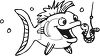 Cartoon fish about to eat a worm on a hook - fishing clipart