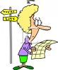 Lost woman looking at a map clipart