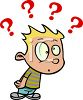 Confused boy with question marks trying to solve a riddle clipart