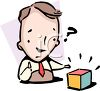 Man trying to solve a puzzle or riddle clipart