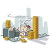 Rich Man Sitting Behind a Desk Piled with Money clipart