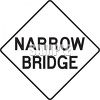 White Road Sign for Narrow Bridge clipart