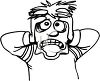 Black and White Cartoon of a Scared Man  clipart