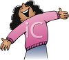Woman with Her Arms Open Wide in Welcome clipart