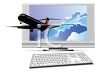 Passenger Jet Flying Out of a Computer Monitor Depicting Travel clipart