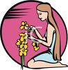 Adolescent Girl Picking Flowers clipart