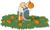 Farmer Picking a Pumpkin for Thanksgiving clipart