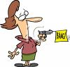 "Cartoon of a Woman Holding a Pistol with a ""Bang"" Flag Sticking Out clipart"