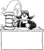 Black and White Cartoon of an Angry Judge Banging His Gavel clipart