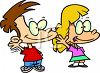 Cartoon of a Little Boy and Girl Waving Hello clipart