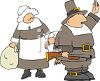 Cartoon of a Pilgrim Waving with His Wife Holding a Turkey clipart