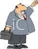 Cartoon of an Office Worker Hailing a Taxi clipart