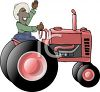 Cartoon of a Black Farmer Waving Sitting on His Tractor clipart