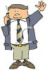 Cartoon of a Businessman on a Cell Phone Waving clipart