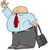 Cartoon of a Fat Guy Trying to Get a Cab to the Airport clipart