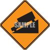 Orange Road Sign of a Truck Going Down a Steep Grade clipart