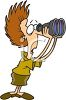 Nosy neighbor looking through binoculars clipart