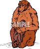 Mother Chimp Nurturing Her Baby clipart