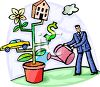 Cartoon of a Man Taking Care of Different Aspects of Life clipart