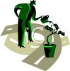 Cartoon of a Man Watering a Money Tree clipart