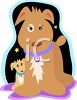 Whimsical Mother Dog Nurturing Her Pup clipart